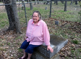 Bertha Mae Byrd Roberts at the burial site of her 2 x great grandfather William and Rebecca Price burial site in Grounds Cemetery, Collin County, TX