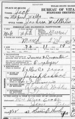 1923 Ashlock, Joshua M. Death Certificate