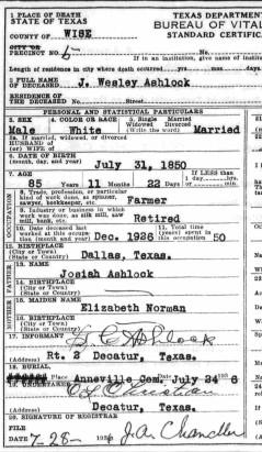 1936 Ashlock, J Wesley death certificate