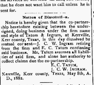 May 11, 1882 Desolution of Tatum and Ingram Partnership