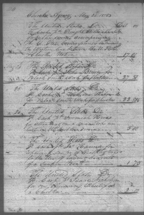 1818 Horn, Jeremiah Cherokee Agency record from May 24