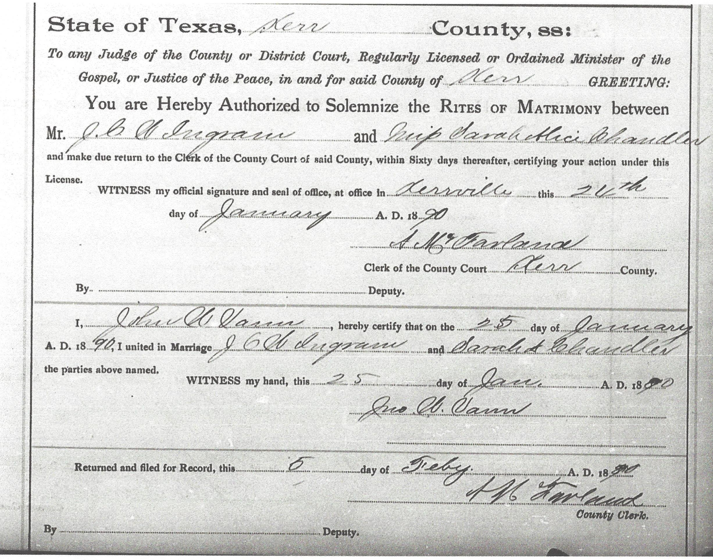 Texas backtracking the common ingram marriage document from the records of kerr county texas xflitez Image collections