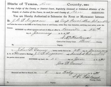 Ingram marriage document from the records of Kerr County, Texas