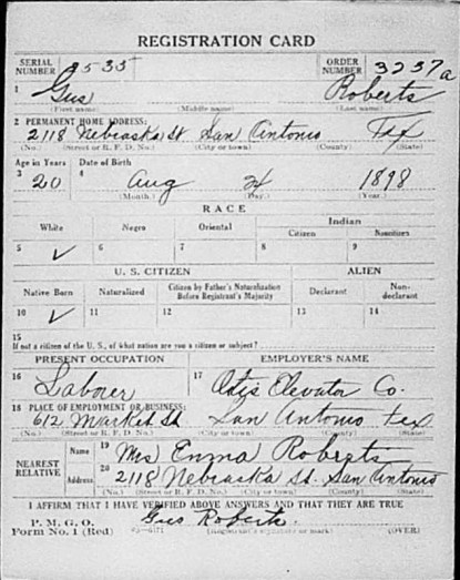 1918 Gus Roberts WWI Draft Reg. side 1 only