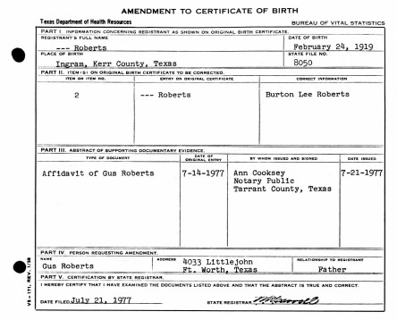 B.L. Roberts ammended birth certificate