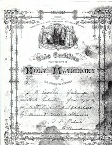 Photo copy of marriage license of J.B. Lassiter and Cornelia Roberts 1870