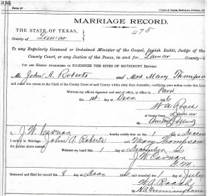 John A. Roberts and Mrs. Mary Thompson marriage record
