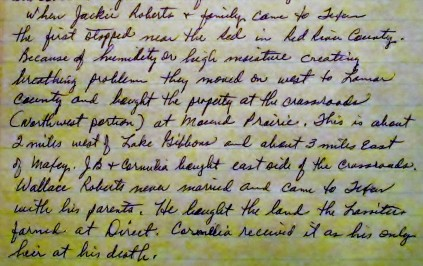 This is a clip from page 2 of a letter written about the Roberts and Lassisters from Dorthy Tillie to Glen Gambill in 2001.