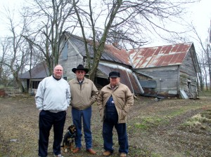 Gary Roberts, Glen Gambill and Jimmy Lassiter in front of the old James B. and Cornelia Lassiter house in Lamar County, Texas.