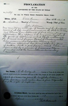 1911 Full Pardon for John Killian