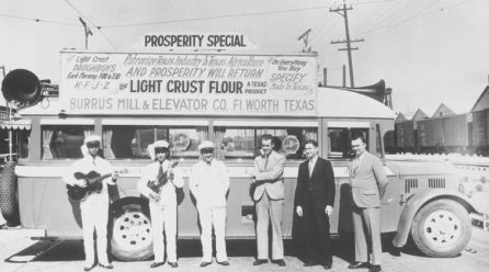 "Bob Wills 2nd from left. ""Pappy"" O'Daniel far right. Photo shared on Facebook by Pat Kelly"