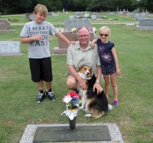 Crew at BL's gravesite