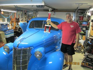 Dennis Mills classic car and trophy from previous weekend.